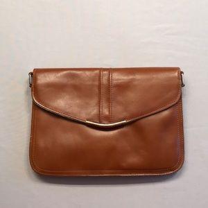 Vintage Brown Leather Clutch Shoulder Bag